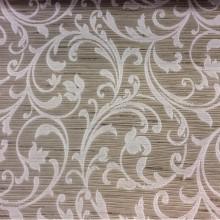 Купить жаккардовую портьерную ткань цвета табака с растительным орнаментом, светло-серыми завитками, Top Milana, col 150, Бельгийский каталог ткани для штор на заказ.