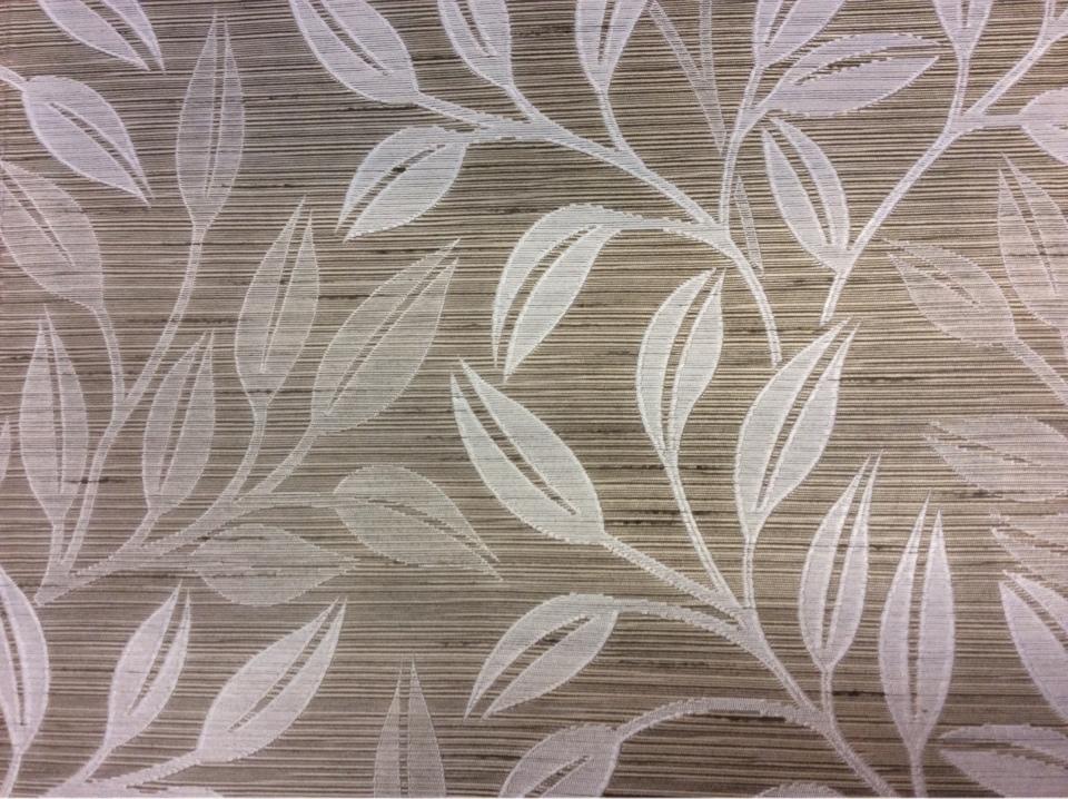 Жаккардовая портьерная ткань, цвета табака, с растительным орнаментом, светлыми листьями, Top Marta, col 150, Бельгийский каталог ткани для штор на заказ.