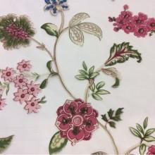 Заказать тонкую тюлевую ткань с ярким цветочным рисунком в стиле пейсли Москва Bering Pik, des: Camberley D, col 25 Rosa, Испанский каталог тюлевой ткани.