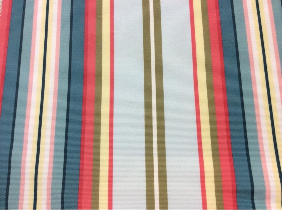 Заказать красивую ткань из хлопка в яркую вертикальную полоску Azov Pik, des: Camberley B, col 95 Coral, Испанский каталог ткани для портьерных штор