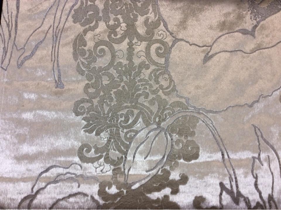 Блестящий бархат с теснённым  растительным орнаментом, J100802D, col 1, Бельгийский каталог ткани для штор на заказ.