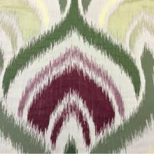 Купить рельефную ткань в восточном стиле с вискозной нитью, Стилизованные «дамаски» в бежевых, бордовых, зелёных и жёлтых оттенках, Высота 3 метра, Samarkand, col 07, Итальянский каталог ткани для штор на заказ.