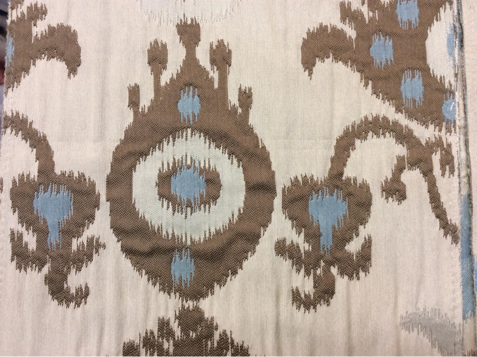 Заказать рельефную ткань в восточном стиле с вискозной нитью в Москве в интернет-магазине, Восточный орнамент в бежевых, голубых, коричневых оттенках, Высота 3 метра, Samarkand, col 17, Итальянский каталог.