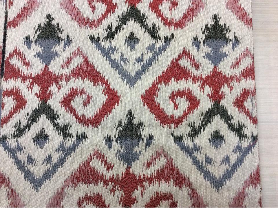 Рельефная ткань в восточном стиле в восточном стиле с вискозной нитью, восточный орнамент в бежевых, красных, грифельно-чёрных оттенках, Высота 3 метра, Samarkand, col 26, Итальянский каталог ткани для штор на заказ.