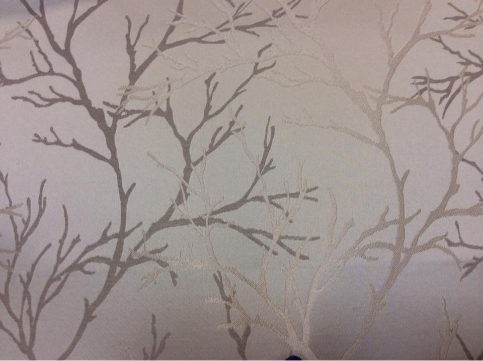 Атласная ткань с растительным орнаментом из хлопка, Ветви в золотисто-бежевых тонах, 2525/21, Италия.