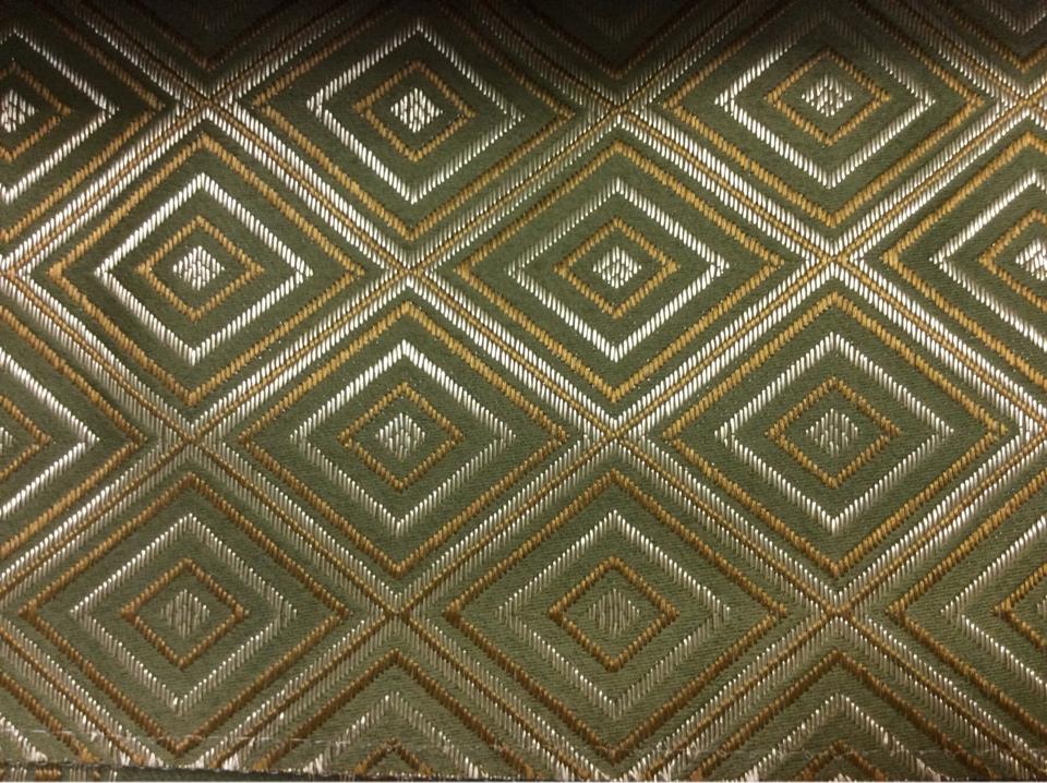 Купить атласную портьерную ткань с геометрическим рисунком, Ромбы (5 см) в золотистых, жёлтых, тёмно-оливковых оттенках, Высота 3 метра, 2384/50, Франция.