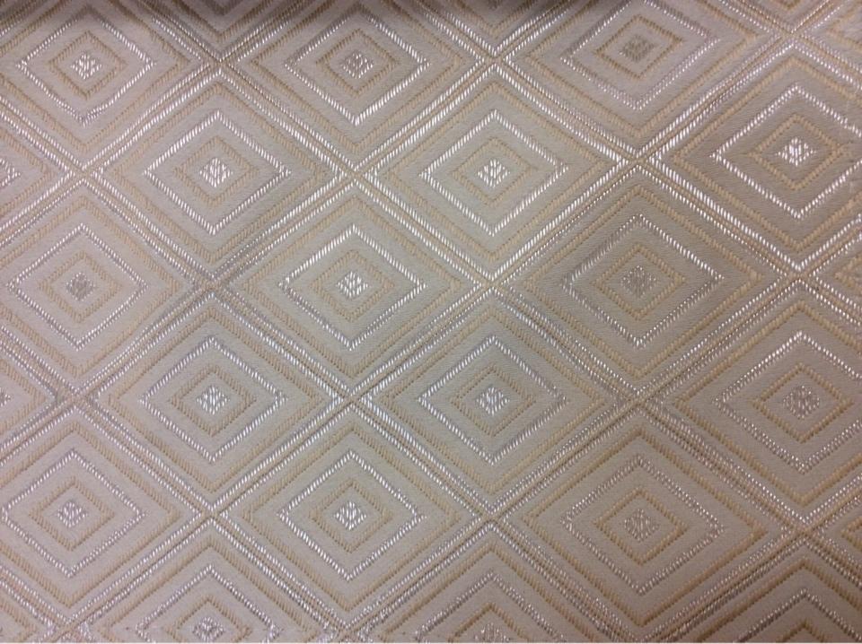 Купить атласную портьерную ткань с геометрическим рисунком, Ромбы (5см) в ванильно - кремовых тонах, Высота 3 метра, 2384/11,