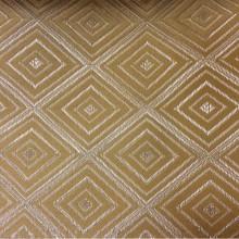 Купить атласную ткань с геометрическим рисунком в интернет-магазине, Ромбы (5см) в желто-серебристых оттенках, Высота 3 метра, 2384/22, Французский каталог плотной, портьерной ткани для штор на заказ.
