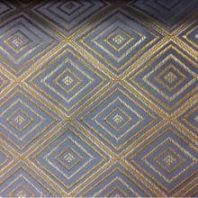 Плотная атласная ткань с геометрическим рисунком, Ромбы (5 см) в золотисто-голубых оттенках, Высота 3,0, 2384/45,  Французский каталог ткани.