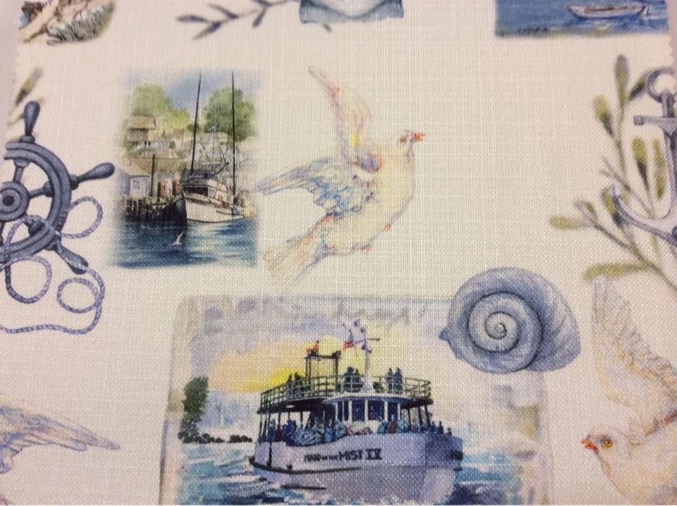 """Портьерная ткань """"под лён"""" с морской тематикой на заказ, На белом фоне морская символика, микс, Bodrum, col V1, Турция."""