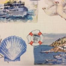 Портьерная  ткань «под лён», На белом фоне морские символы, микс, Высота 2,95, Bodrum, col V2, Турецкий каталог ткани для пошива штор на заказ.
