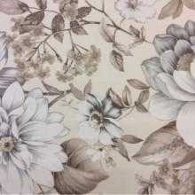 Купить портьерную ткань из хлопка с цветочным орнаментом, На светлом фоне крупные цветы и листья в бежево-серых тонах, Super Nei-A, col Beig 30, Испания.