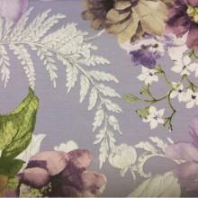 Купить плотную, портьерную ткань с цветочным орнаментом, На сиреневом фоне крупные цветы и листья, микс, Super Adele Donana, col Lila, Испания.