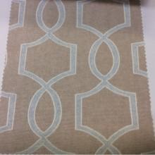 Плотная  портьерная ткань из хлопка в современном стиле на заказ в интернет-магазине, На бежевом фоне геометрический рисунок голубого оттенка, Super Fiona Coord Donana, col Beige, Испанский каталог ткани для штор на заказ.