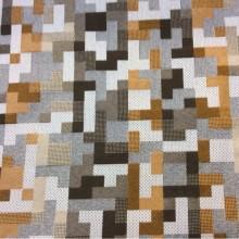 Портьерная ткань средней плотности  в современном стиле, Абстрактный геометрический рисунок, микс, Высота 2,80, Super Tetris A, col Marron 32, Испанский каталог портьерной ткани для штор на заказ.