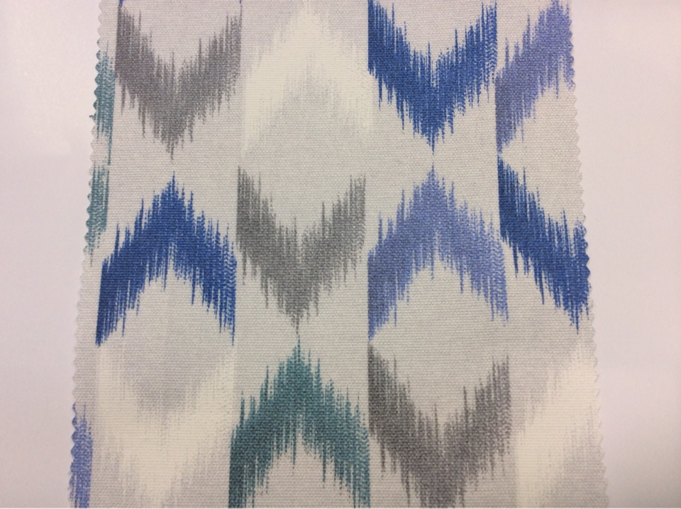 Заказать портьерную плотную ткань из хлопка в стиле бохо в интернет-магазине Москвы, Этнический орнамент в серо-голубых оттенках, Высота 2,80, Super Karnal Donana, col Jade, Испания.