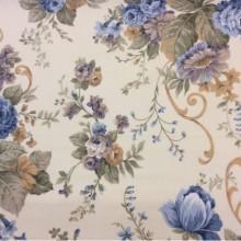 Портьерная плотная ткань из хлопка с растительным орнаментом на заказ в интернет-магазине, На светлом фоне крупные цветы в синих, зелёных и бежевых оттенках, Высота 2,80, Super Botanico Flor Donana, col Azul, Испания.