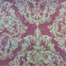 Портьерная плотная ткань из хлопка в классическом стиле на заказ, На розовом фоне крупные кремовые «дамаски»,  Высота 2,80, Super Alhambra Donana, col Rojo, Испанский каталог портьерной и плотной ткани для пошива штор на заказ.