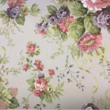 Заказать портьерную плотную ткань из хлопка с растительным орнаментом, На серо-бежевом фоне букеты из  цветом, микс, Высота 2,80, Super Botanico Flor Donana, col Teja, Испанский каталог ткани для пошива штор на заказ.