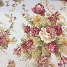 Купить портьерную ткань из хлопка с растительным орнаментом, На  бледно-голубом фоне крупные букеты из цветов, микс, Высота 2,80, Super Botanico Flor Donana, col Celeste, Испанский каталог портьерной плотной ткани для пошива штор на заказ.