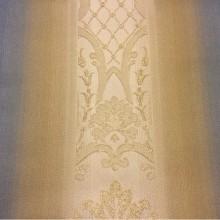 Жаккардовая ткань с люрексной нитью, Вертикальный переход рисунка в сине-бежевых тонах, Арт: 1401C, col 3, Италия.