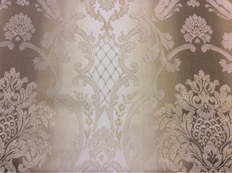 """Жаккардовая ткань с люрексной нитью и выпуклым эффектом на заказ, Ажурные """"дамаски"""" в бежево-коричневых тонах, Арт: 1401A, col 1, Итальянский каталог ткани для штор на заказ."""