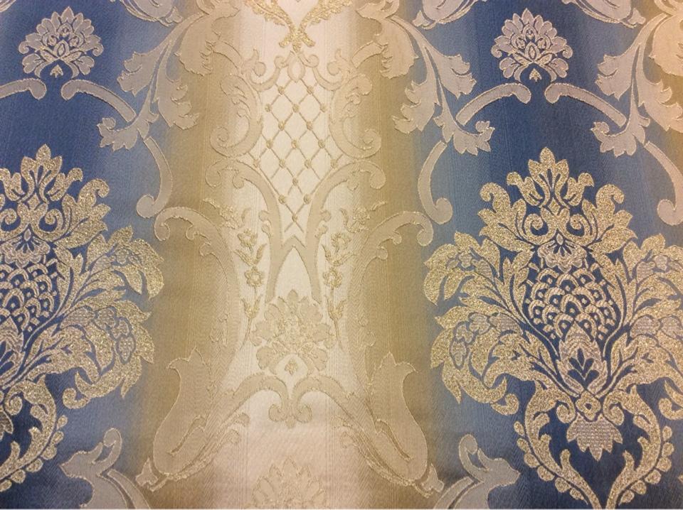 """Купить жаккардовую ткань с люрексной нитью и выпуклым эффектом, Ажурные """"дамаски"""" в сине-бежевых тонах, Ширина 2,80, Арт: 1401A, col 3, Итальянский каталог ткани для пошива штор на заказ."""