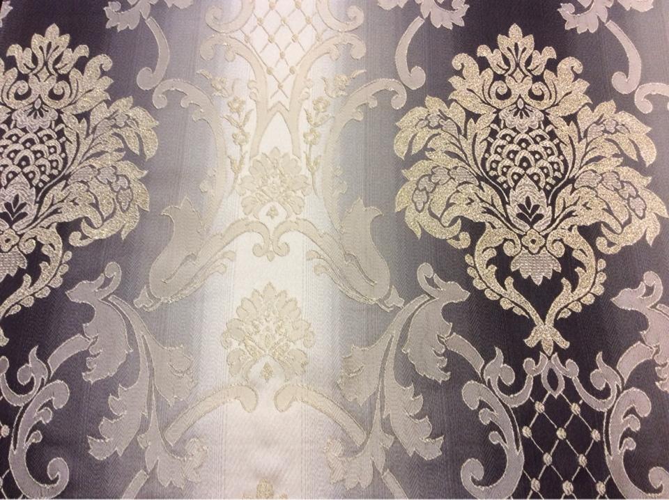 """Заказать жаккардовую ткань в интернет-магазине, Ажурные """"дамаски"""" в бежевых и тёмно-шоколадных тонах, Ширина 2,80, Арт: 1401A, col 4, Итальянский каталог ткани для пошива штор на заказ."""
