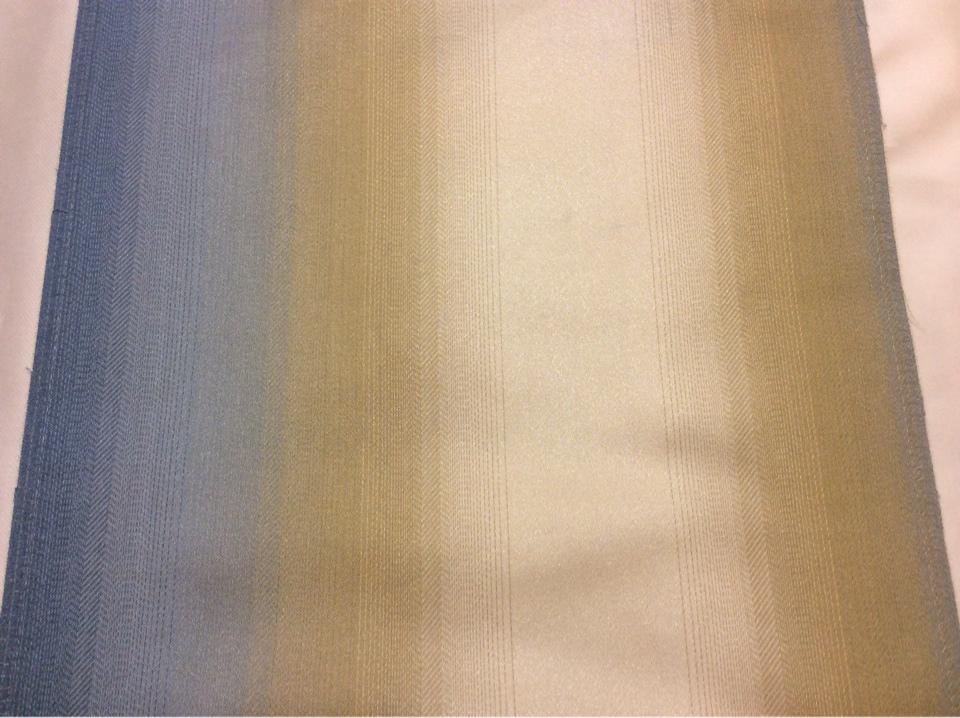 Жаккардовая ткань на заказ в интернет-магазине Москвы, Вертикальный переход полос в сине-бежевых тонах, Ширина 2,80, Арт: 1323E, col 3, Итальянский каталог портьерной ткани для пошива штор на заказ.