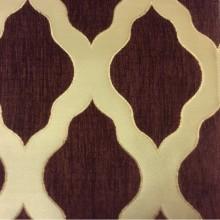 Атласная ткань с набивкой из шенилла, На золотистом фоне ромбовидные фигуры цвета марсала, Высота 3,0, Morocco, col 20, Италия.