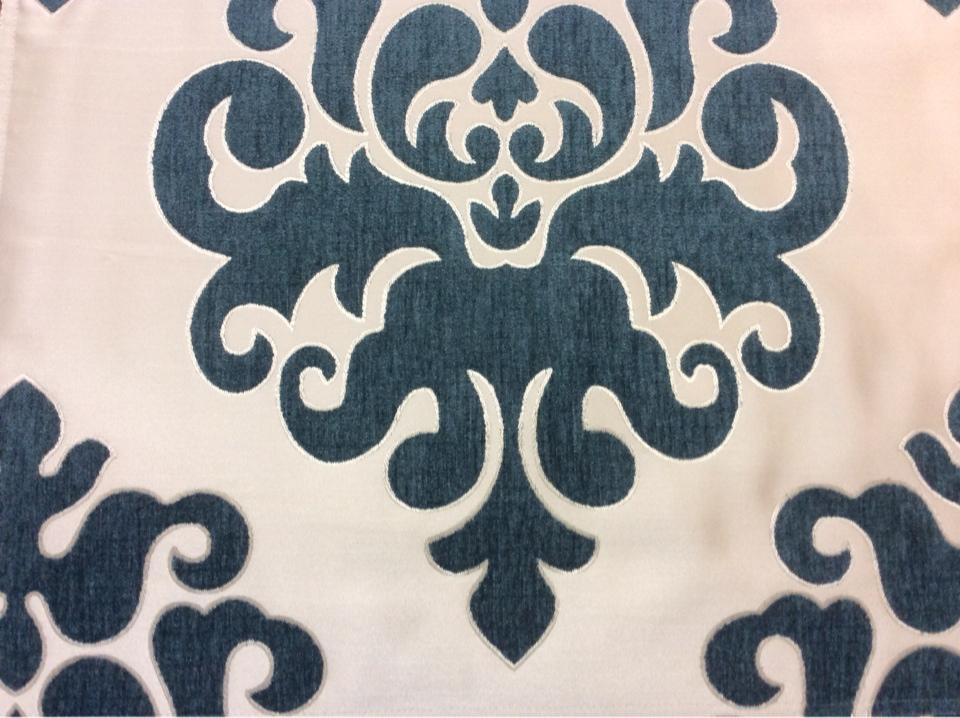 """Атласная ткань с набивкой из шенилла на заказ в интернет-магазине, На ванильном фоне """"дамаски"""" тёмно-бирюзового оттенка, Высота 3,0, Арт: Morocco, col 04, Итальянский каталог ткани для штор."""