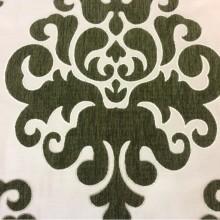 Заказать атласную ткань с набивкой из шенилла, На ванильном фоне «дамаски» травянистого  оттенка, Высота 3,0, Арт: Morocco, col08, Итальянский каталог ткани для пошива штор на заказ.