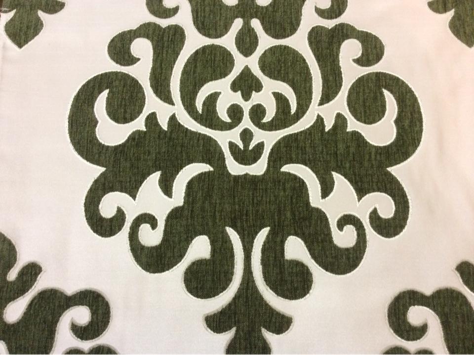 """Заказать атласную ткань с набивкой из шенилла, На ванильном фоне """"дамаски"""" травянистого  оттенка, Высота 3,0, Арт: Morocco, col08, Итальянский каталог ткани для пошива штор на заказ."""