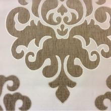 Купить атласную ткань с набивкой из шенилла, На ванильном фоне «дамаски» тёмно-бежевого оттенка, Высота 3,0, Арт: Morocco, col 12, Итальянский каталог ткани для пошива штор на заказ.
