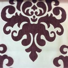 Атласная ткань с набивкой из шенилла, На золотистом фоне «дамаски» цвета марсала, Высота 3,0, Арт: Morocco, col 21, Итальянский каталог ткани.