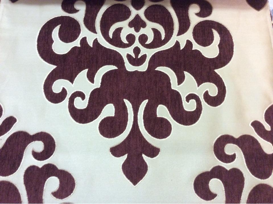"""Атласная ткань с набивкой из шенилла, На золотистом фоне """"дамаски"""" цвета марсала, Высота 3,0, Арт: Morocco, col 21, Итальянский каталог ткани."""