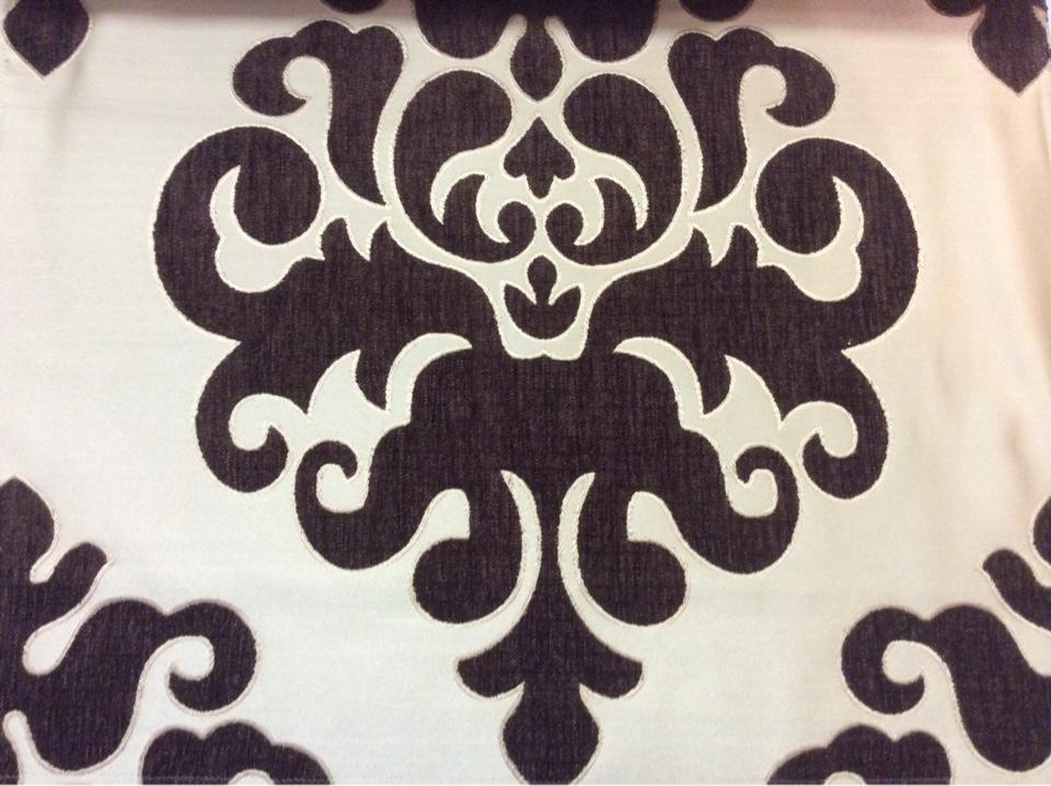 """Купить атласную ткань с набивкой из  шенилла, На золотистом фоне """"дамаски"""" шоколадного оттенка, Высота 3,0, Арт: Morocco, col 25, Итальянский каталог ткани для пошива штор на заказ."""