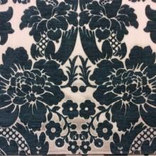 Заказать атласную ткань с набивкой из шенилла в интернет-магазине Москвы, На ванильном фоне цветы тёмно-бирюзового оттенка, Ширина 3,0, Арт: Morocco, col 05, Итальянский каталог ткани для пошива штор на заказ.
