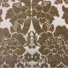Купить атласную ткань с набивкой из шенилла, На ванильном фоне цветы тёмно-бежевого оттенка, Ширина 3,0, Арт: Morocco, col 13, Итальянский каталог ткани.