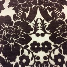 Купить атласную ткань с набивкой из шенилла, На золотистом фоне цветы шоколадного оттенка, Ширина 3,0, Арт: Morocco, col 26, Итальянский каталог ткани для пошива штор на заказ.