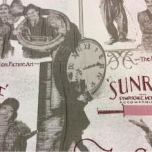 Натуральная ткань с хлопковой нитью и креативным изображением рисунком,  Грязно-белый, серый,бордовый, розовый, Cinema, col 14, Испанский каталог ткани для пошива штор на заказ.