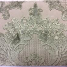 Купить элитную дорогую натуральную ткань с бархатной набивкой, На светлом фоне «дамаски» зелёного оттенка, Ширина 1,40, Bosco, col 20, Итальянский каталог ткани для штор на заказ.