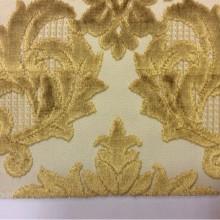 Натуральная ткань с бархатной набивкой, На светлом фоне «дамаски» горчичного оттенка, Ширина 1,40, Bosco, col 40, Итальянский каталог портьерной ткани для пошива штор на заказ.