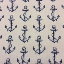 Купить ткань «под лён» с морской тематикой, Белый фон, синие якоря, Высота 2,95, Anchor, col V2, Турецкий каталог ткани для пошива штор на заказ.