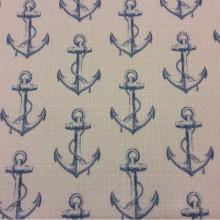 Купить портьерную ткань «под лён»  с морской тематикой в интернет-магазине, Белый фон, голубые якоря, Высота 2,95, Anchor, col V1, Турция.