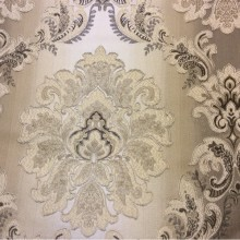 Жаккардовая ткань с эффектом выпуклого нанесения орнамента, «Дамаски» на бежево-коричневом фоне, Ширина 2,80, Арт: 1323A, col 1, Итальянский каталог ткани для пошива штор на заказ.