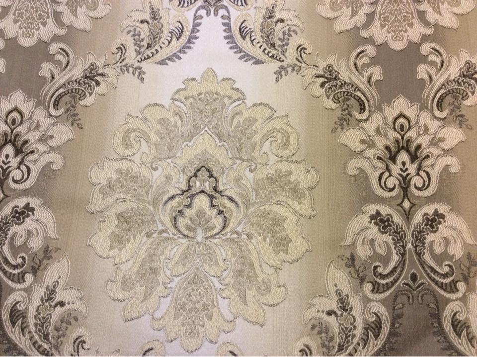"""Жаккардовая ткань с эффектом выпуклого нанесения орнамента, """"Дамаски"""" на бежево-коричневом фоне, Ширина 2,80, Арт: 1323A, col 1, Итальянский каталог ткани для пошива штор на заказ."""