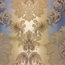Заказать жаккардовую ткань с эффектом выпуклого нанесения орнамента в интернет-магазине Москвы, «Дамаски» на бежево-синем фоне, Ширина 2,80, Арт: 1323A, col 3, Итальянский каталог ткани для пошива штор на заказ.