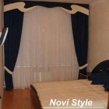 Черные шторы и ламбрекены в спальню