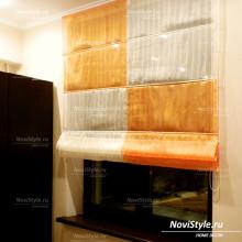 Оранжевые римские шторы на кухню